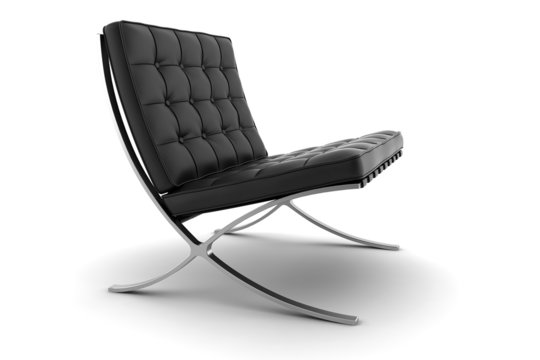 3d black armchair isolated on white background