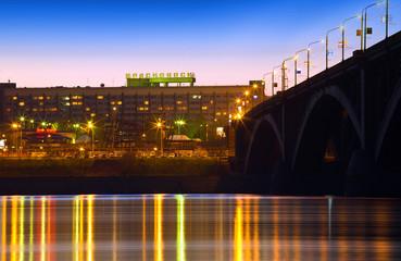 night city of Krasnoyarsk