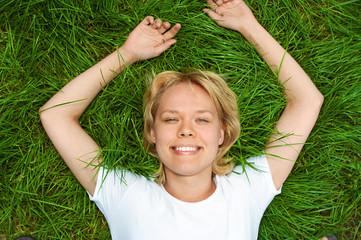 beauty woman lie grass