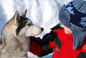 Boy and pet dog