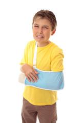 Unhappy boy broken arm