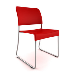 3d red chair isolated on white background