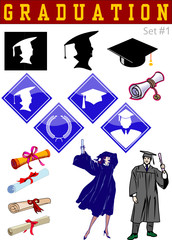 Vector graduation related illustrations set