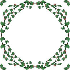 Vector holiday border of holly