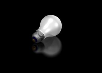 Light bulb on a black table