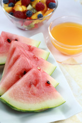 Healthy snack - fruits and juice