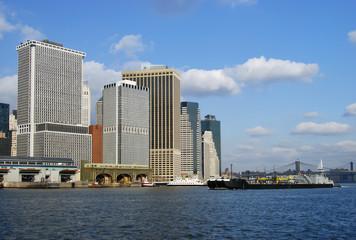 New York skyline of Manhattan with ship