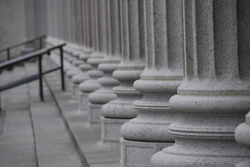 Perspective view of large freestone columns