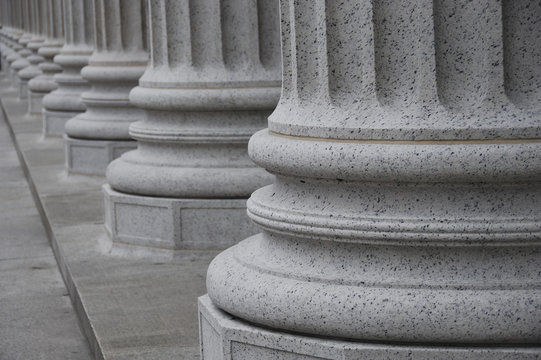 Detailed view of white columns