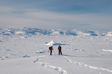 Snow shoes and ice field in Greenland