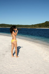 Photographer Girl in Bikini - Tropical Beach - Fraser Island,