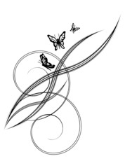 Background with flowers and butterflies. An isolated.