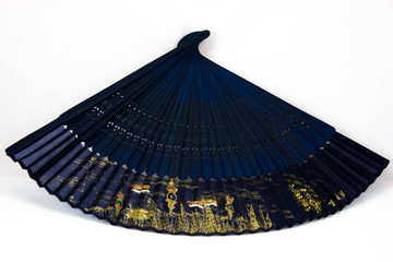 Bottom view of blue chinese fan
