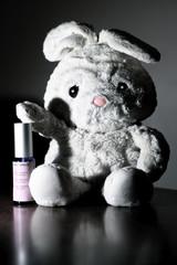 Bunnyrabbit presenting cosmetics