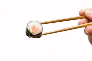 Chopsticks with salmon roll