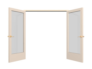 Open 3d door with glass inserts