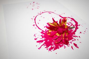 flor esborratada com tinta