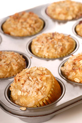 Freshly baked tropical pineapple muffins with nuts