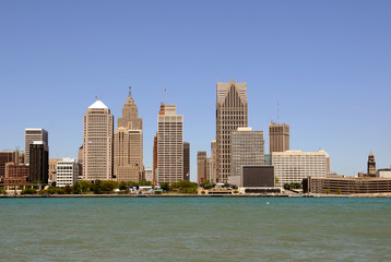 City skyline-Detroit Michigan