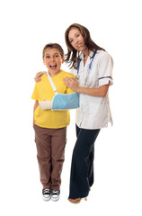 Nurse stands with a happy patient