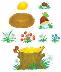 Mushrooms, flowers, stump and nest