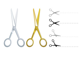 Set of vector silver and gold scissors cutting paper