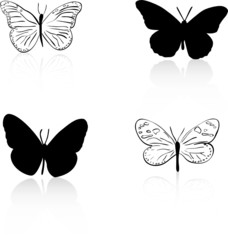Butterfly silhouette and line art vector set
