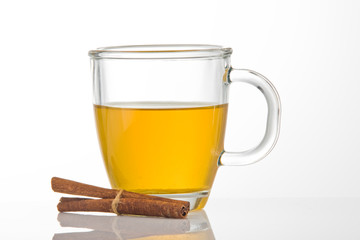 A cup of tea with cinnamon