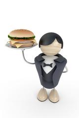 Waiter with burger in restaurant