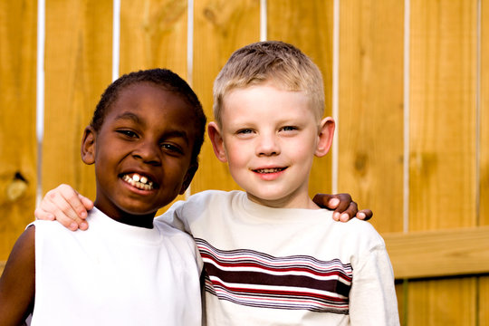 two friends playing outside