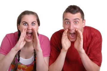 couple shouting an announcement