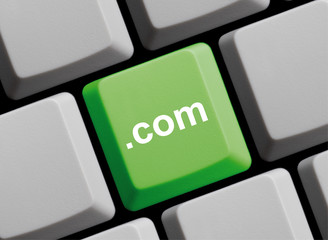 Domainendung .com auf Computer Tastatur
