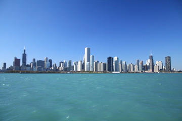 Chicago skyline as seen from Lake Michigan