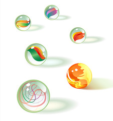 6 glass marbles
