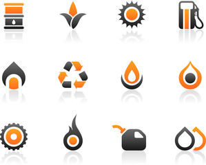 Set of 12 fuel environmental icons and graphics
