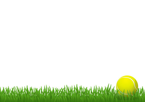 Pelouse et balle de tennis (pied de page)