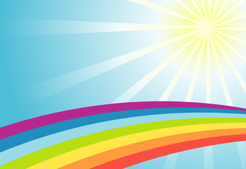 Color sun rainbow background