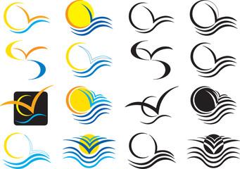 icone mare sole e gabbiani
