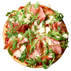 Pizza, bacon, rucola