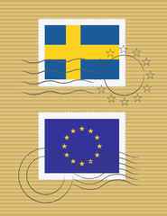 Stamps with flag of Sweden and EU