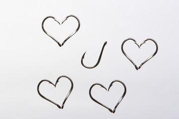 Fish hook hearts