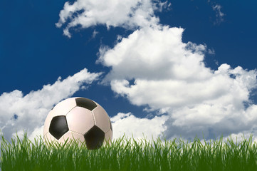 Football with grass