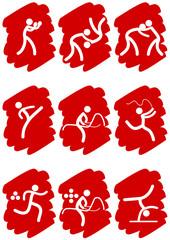 Pictogrammes des jeux olympiques d'été peinture rouge(partie 2)