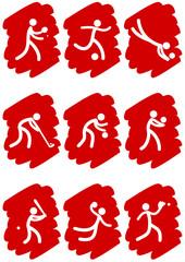 Pictogrammes des jeux olympiques d'été peinture rouge(partie 3)