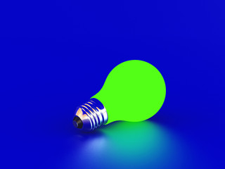 Green bulb on a blue background