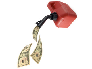 gas can pouring money