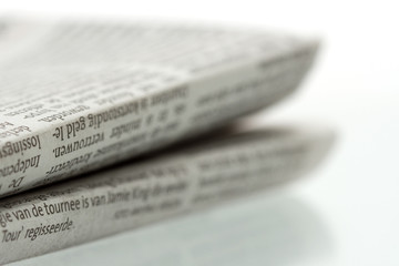 Folded newspaper - Close-up - focus on foreground