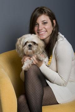 Beautiful Brunette And Dog