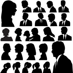 Simple Silhouette People Portraits Heads Faces Shoulders Set