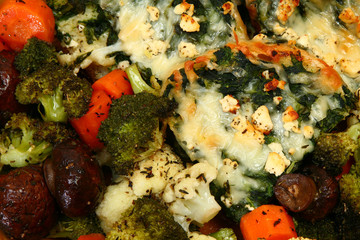Herb Baked Veggie and Spinach Feta Strata close up.